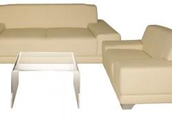 Kombo Leder, beige, 1x3er Sofa + 1x Ledersessel + 1x Beistelltisch - Artikelnr. 0078