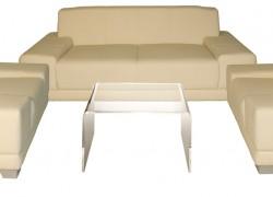 Kombo Leder, beige, 1x 3er Sofa + 2x Ledersessel + 1x Beistelltisch - Artikelnr. 0079