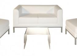 Kombo Leder, weiss, 1x 2er Sofa + 2x Hocker + 1x Beistelltisch - Artikelnr. 0085