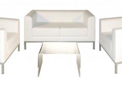 Kombo Leder, weiss, 1x 2er Sofa + 2x Ledersessel + 1x Beistelltisch - Artikelnr. 0084